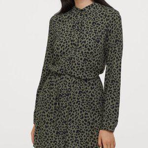 NWOT H&M Leopard Print Shirt Dress